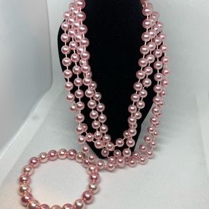 Pink Pearl Necklace w/matching bracelet